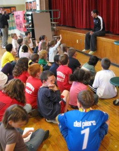 All eyes of the Cunniff School were on Angela Hucles of the Boston Breakers and the US Women's Soccer team when the two-time gold-medal winner came to the Watertown elementary school for a press conference with the Cunniff Kids News on June 12, 2009.