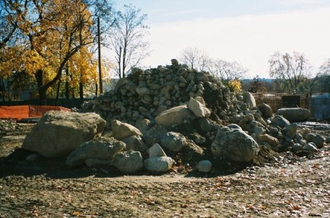 A pile of rocks at the construction site for the future home of the Watertown police station on Nov. 12, 2008.