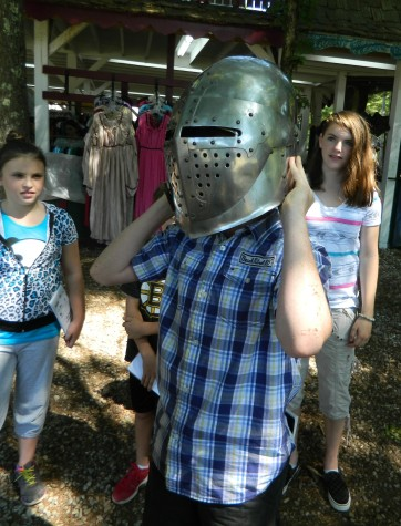 A knight's helmet is an important part of a suit of armor worn by the jousters at King Richard's Faire, which in total weighs about 70 pounds and costs $3,500 and up. (Aug. 26, 2014)