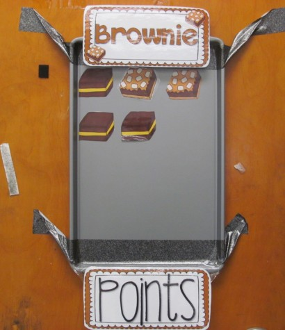 The Brownie Points board in Olivia Cifrino's second-grade classroom at Cunniff Elementary School in Watertown, Mass.