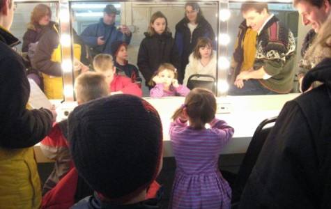 Cunniff Kids News reporters stop in the dressing room while visiting the Shubert Theatre, home of the Boston Lyric Opera, where they were given a tour by production manager Michael Patterson (right).
