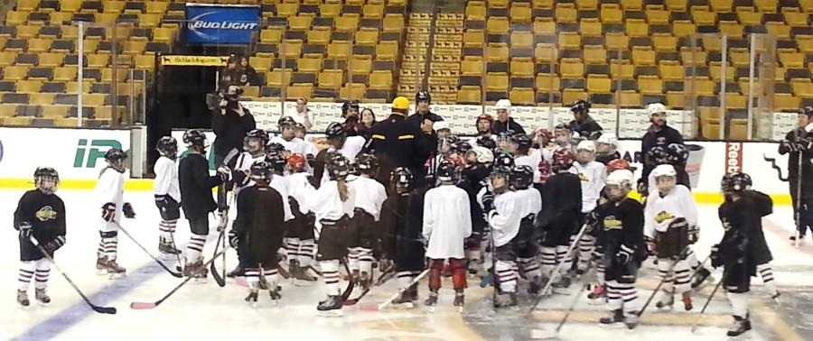 Members of the Watertown Youth Hockey program participated in a clinic with Bruins players Niklas Svedberg and Matt Fraser at TD Garden on Nov. 19, 2014.