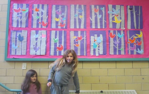 Student art projects on display in the hallways of Cunniff Elementary School in Watertown, Mass., on March 10, 2015.