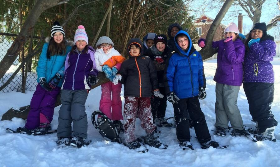 With the help of a historic snowfall and snowshoes, Cunniff Elementary students had no trouble hanging out in a tree branch during a recent gym class.