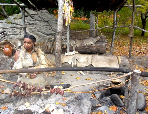 A Wampanoags woman cooks at Plimoth Plantation on Oct. 28, 2015.
