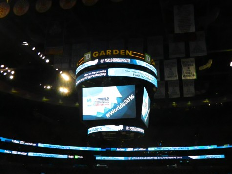 The scoreboard above the ice at TD Garden is prepared for the 2016 World Figure Skating Championships.