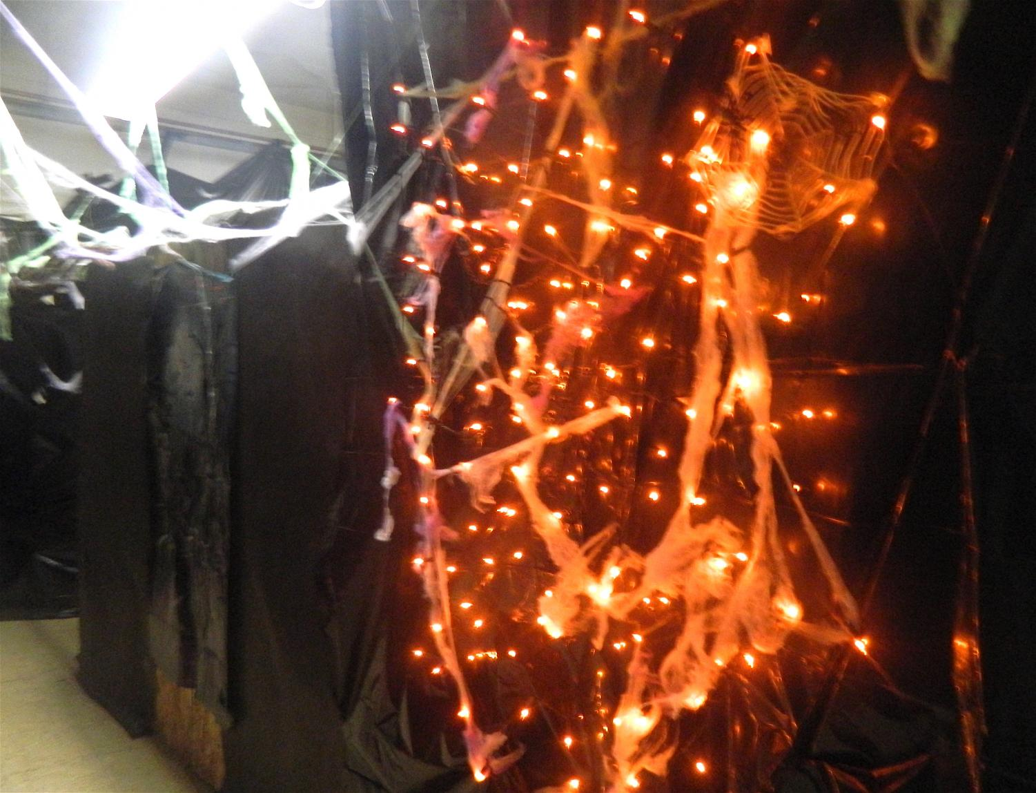 Lights and spiderwebs hang in the basement of Cunniff Elementary School in preparation for visitors to the Haunted House during the annual Halloween Party on Friday, Oct. 27, 2017, from 6-8 p.m.