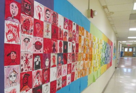 Art lines the hallway at Cunniff Elementary School