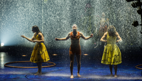 "The rain inside the tent on the stage is one of the magical moments in the newest Cirque du Soleil show, ""Luzia"" in Boston through Aug. 12, 2018."