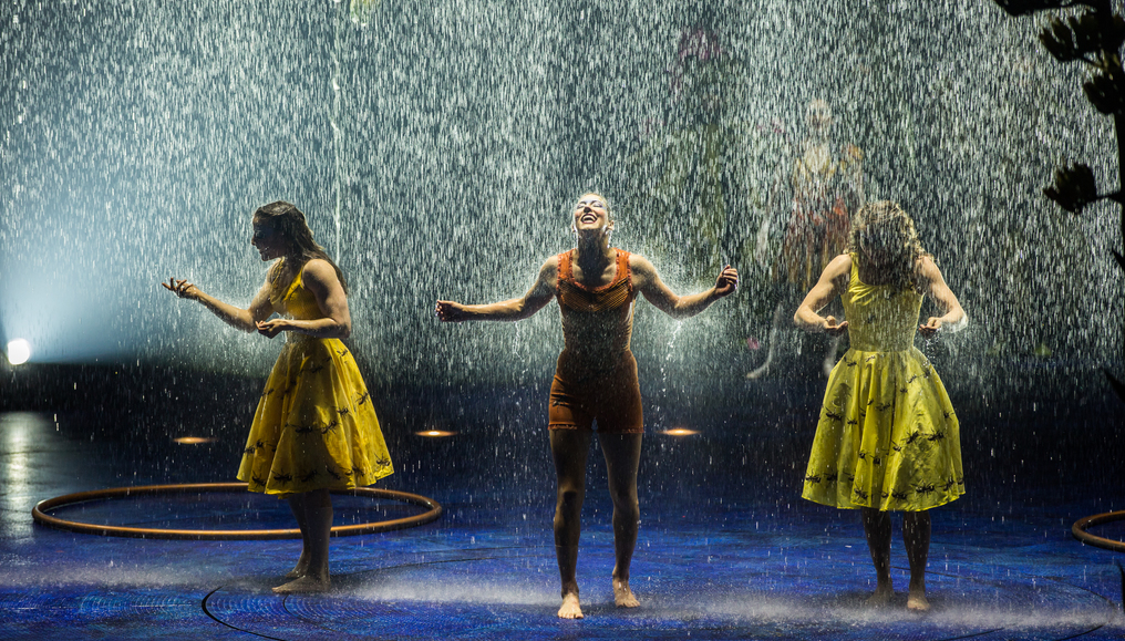 The rain inside the tent on the stage is one of the magical moments in the newest Cirque du Soleil show,