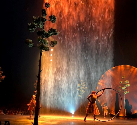 Indoor waterfalls are just part of the show at Cirque du Soleil's show Luzia, which is in Boston through Aug. 12, 2018.