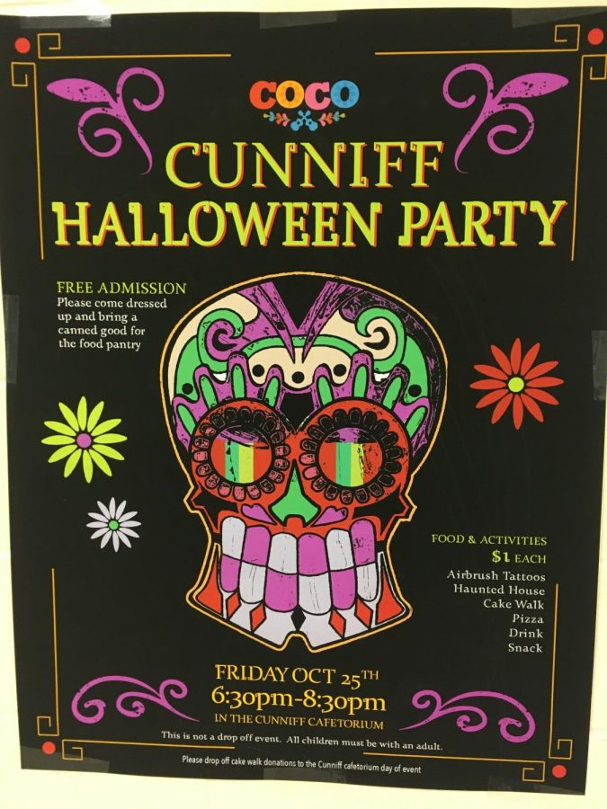 Poster for the annual Halloween party to be held Friday, Oct. 25, at Cunniff Elementary School in Watertown, Mass.